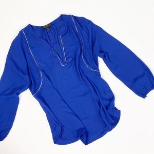 J. Crew Royal Blue Rope Braided Holiday Blouse